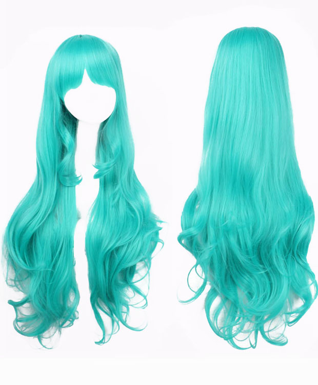 80cm Green Wavy Cosplay Wigs Costumes Wigs For Girls With Bangs