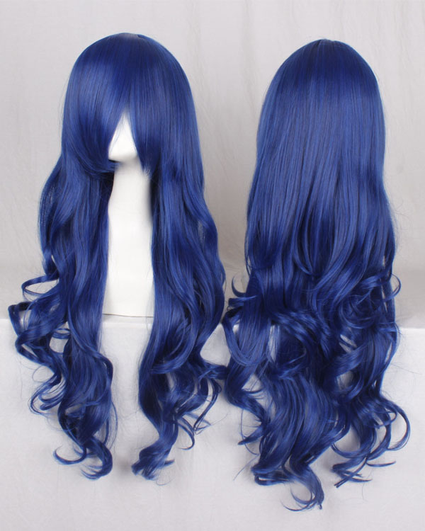 80cm Blue Wavy Cosplay Wigs Fairy Tail Juvia·Lockser Costumes Wigs For Girls With Bangs Party Wig