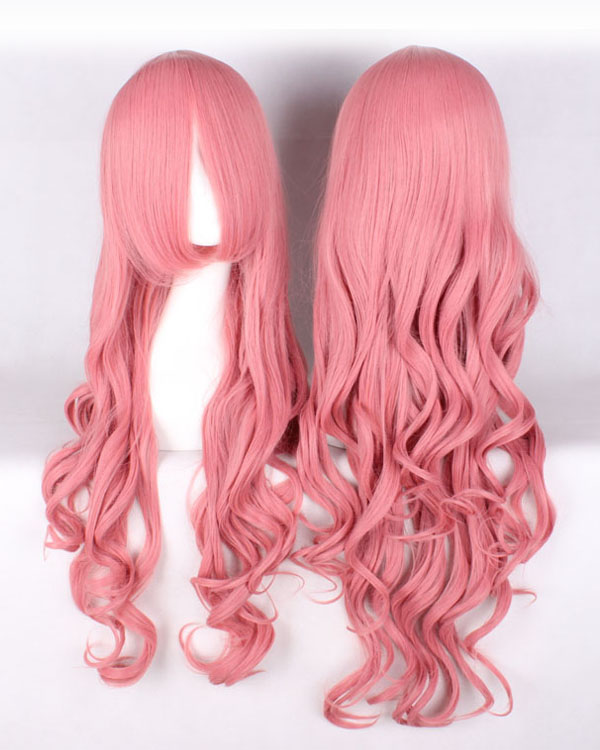 80cm Pink Wavy Cosplay Wigs Costumes Wigs For Girls With Bangs