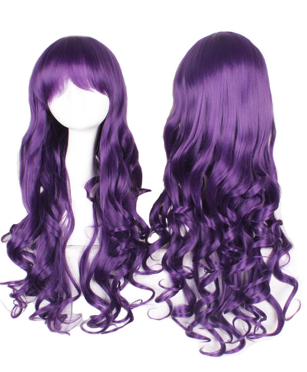 80cm Purple Wavy Cosplay Wigs Costumes Wigs For Girls With Bangs