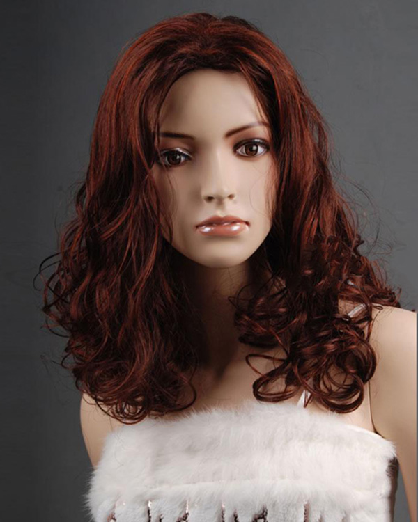 #33H130 Medium Long Wigs Wavy Synthetic Hair Wig