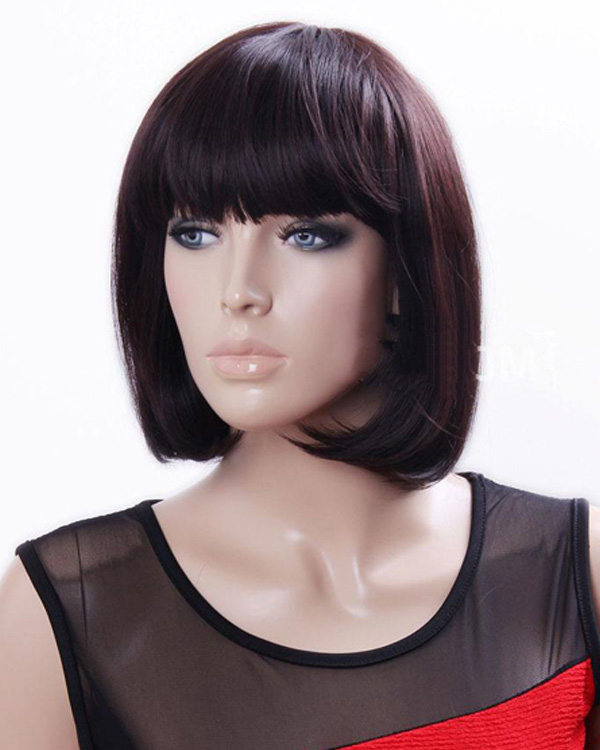 Chestnut Brown Short Straight Wigs Synthetic Hair Wig With Bangs