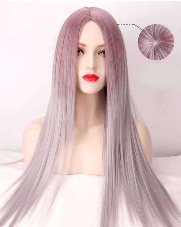 Elegant Silver Purple Cosplay Wig Long Straight Metallic Purple Costume Wig For Women Party Wig