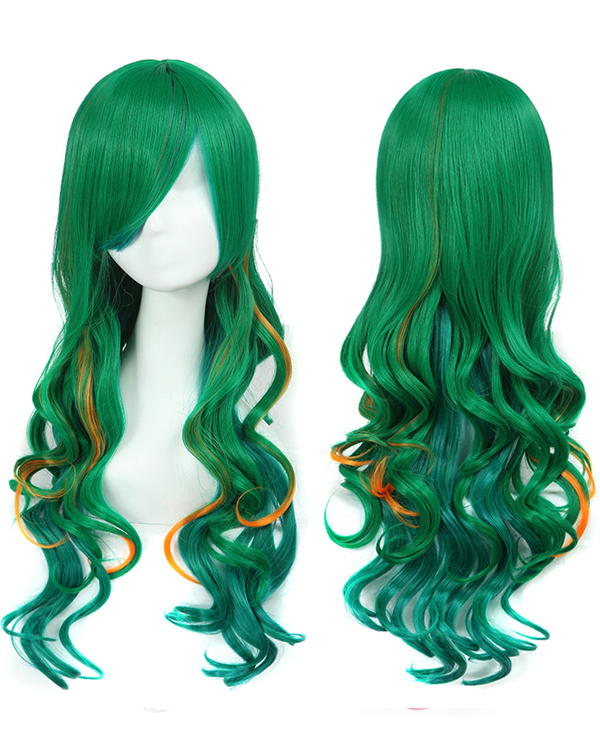 Green Cosplay Wig Long Wavy Costume Wig Funky Color Party Wig