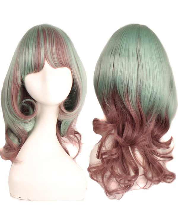 Green Pink Mixed Lolita Cosplay Wig Wavy Women's Costume Wig