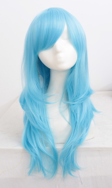 70cm Light Blue Wavy Cosplay Wigs Costumes Wigs For Ladies With Bangs