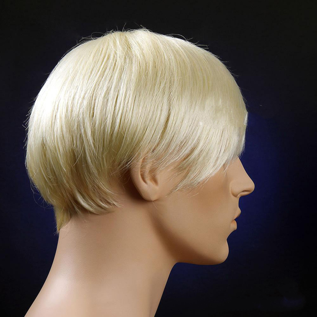 Business Men Bleach White Blonde Hair Wigs Synthetic Hair Wig