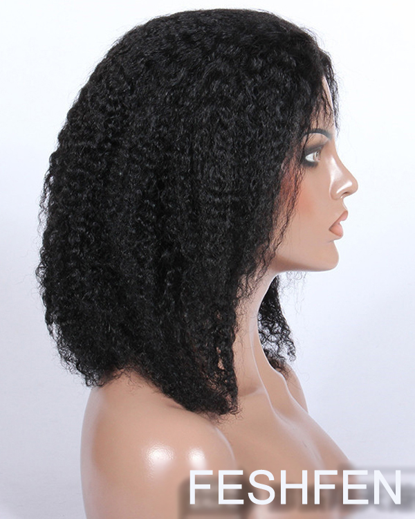2016 New Black Kinky Straight Lace Front Human Hair Wigs For African American