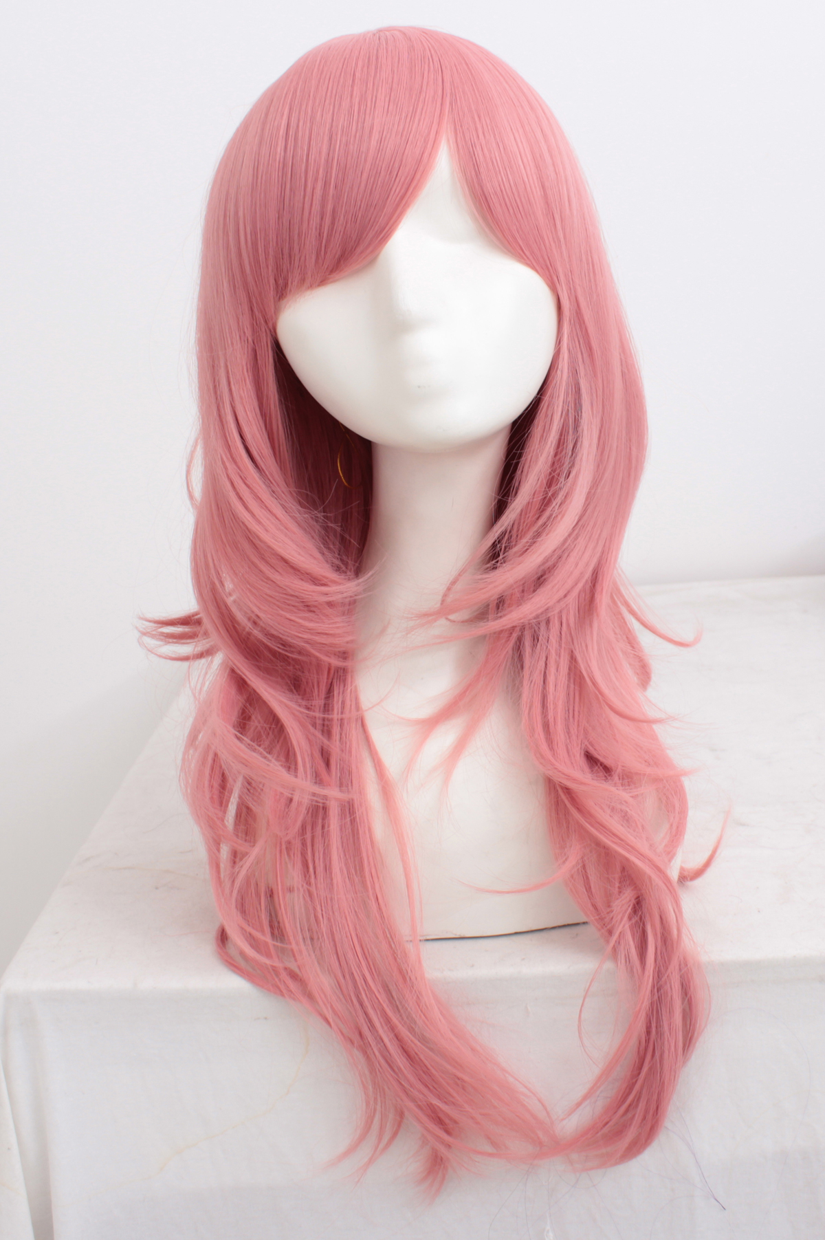 70cm Pink Wavy Cosplay Wigs Costumes Wigs For Ladies With Bangs