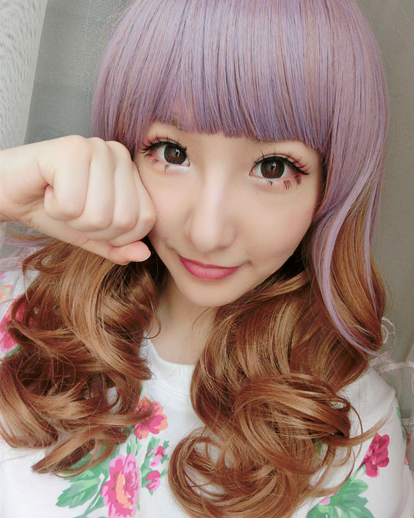 Purple Brown Mixed Ombre Wig Cosplay Wigs Costumes Wigs For Girls With Bangs