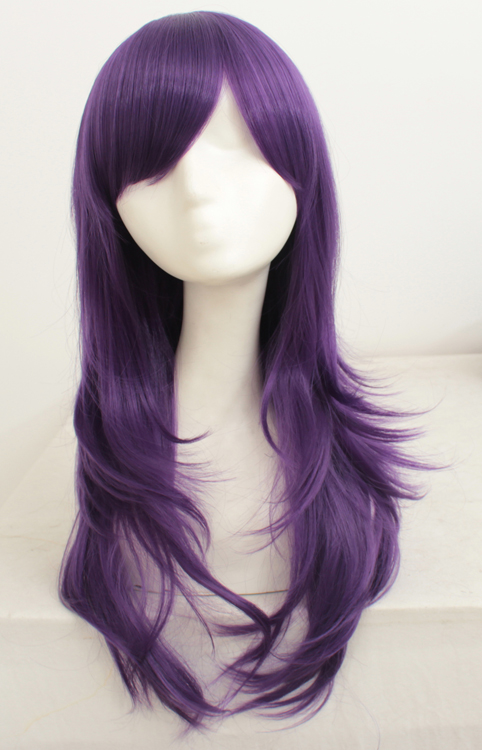 70cm Purple Wavy Cosplay Wigs Costumes Wigs For Ladies With Bangs