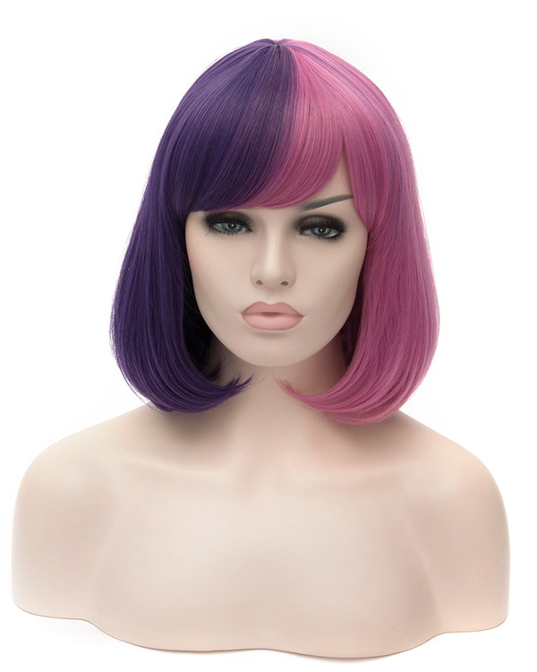 Medium Long Purple Pink Costume Wig