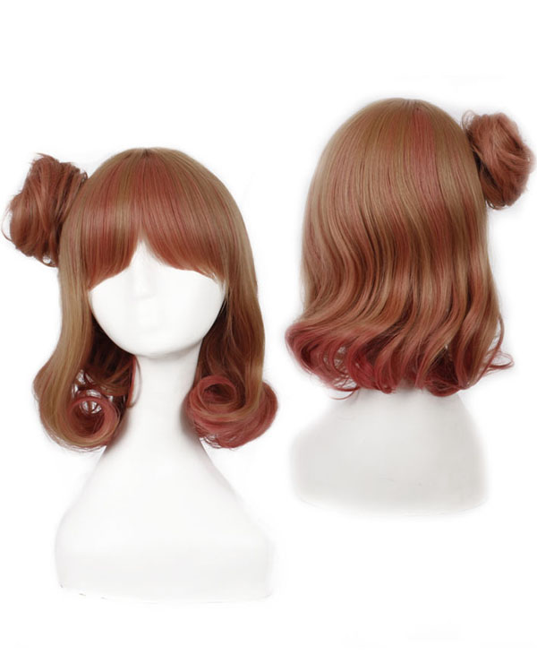 Two Colors Mixed Wavy Cosplay Wigs Women Costumes Wigs With Bun Party Wig