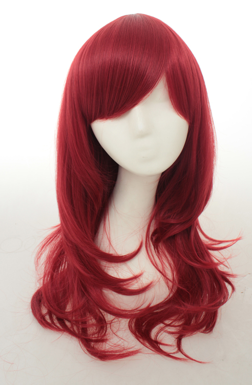 70cm Red Wavy Cosplay Wigs Costumes Wigs For Ladies With Bangs