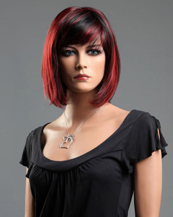 Red Black Short Bob Straight Wigs Synthetic Hair Wig
