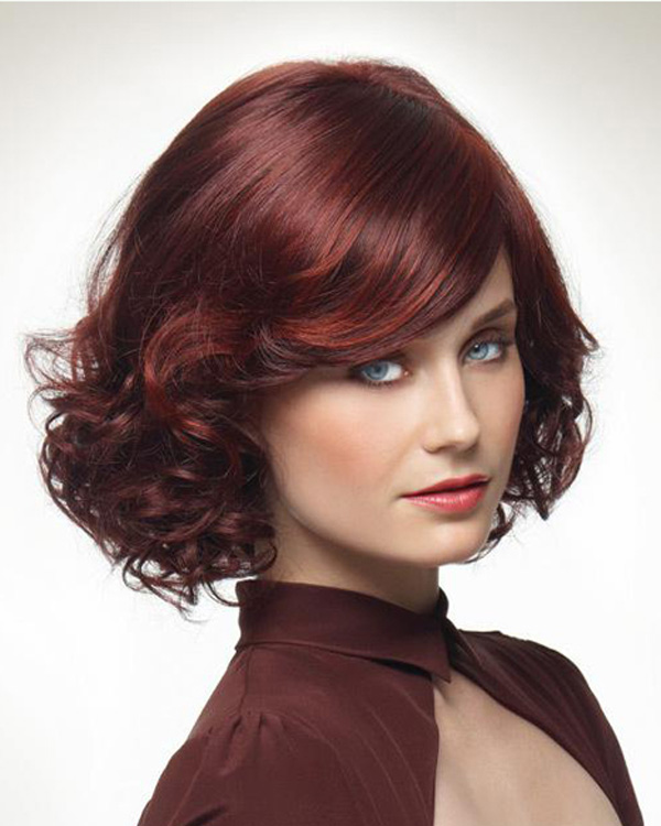 Charming Plum Red Wavy Medium Long Wigs Synthetic Hair Wig