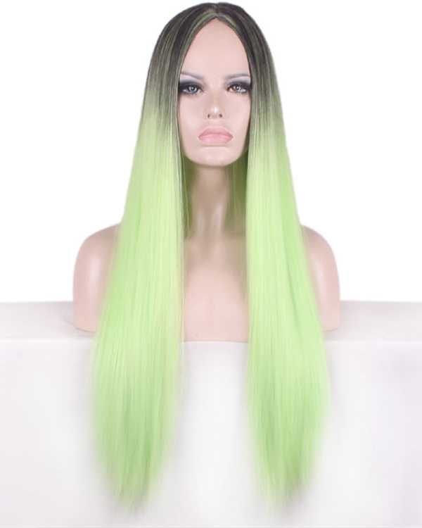 Black Green Ombre Cosplay Wig Long Straight Costume Wig For Women Party Wig