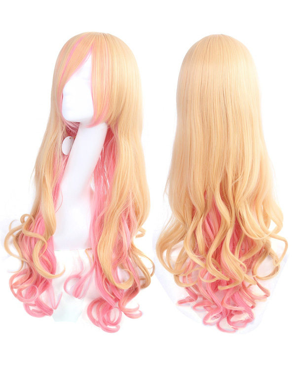 Lolita Yellow Pink Cosplay Wig Long Wavy Costume Wig Party Wig